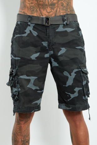 Mens Blue Camo Belted Cargo Shorts