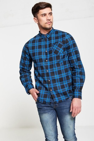 Mens Blue Checked Shirt