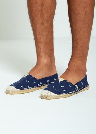 Mens Blue Flamingo Print Espadrilles Loafers