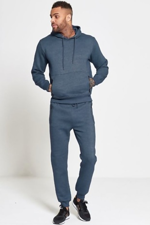 Mens Blue Fleece Slim Fit Tracksuit