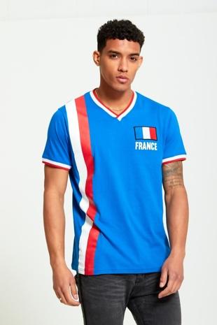 Mens Blue France Print Sports T-shirt