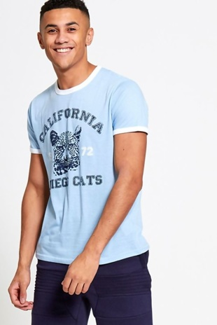 Mens Blue Tiger Print T-Shirt