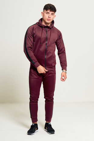Mens Burgundy Hooded Tracksuit With Black Panel Detailing