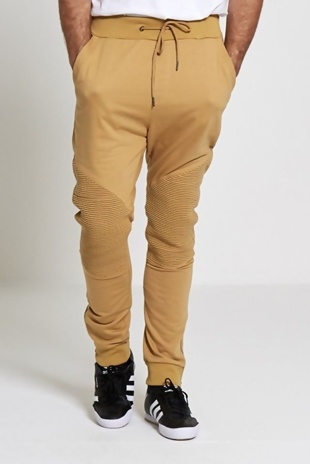 Mens Camel Stylish Knee Ribbed Trousers