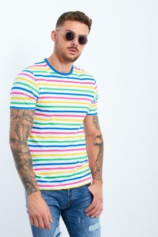 Mens Candy Stripe Crew Neck T-Shirt