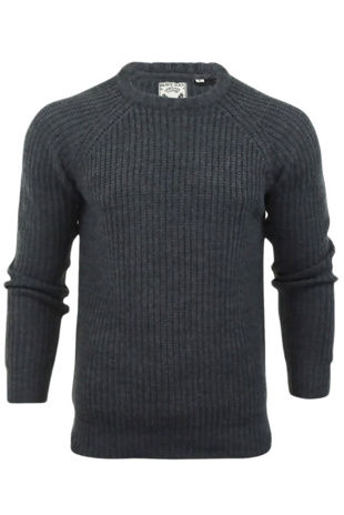 Mens Charcoal Cable Knit Patchwork Jumper
