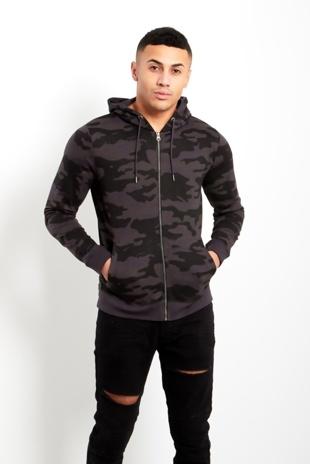 Mens Charcoal Camo Zip Up Hood Jacket