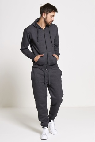 Mens Charcoal Fleece Jogging Pockets Plain Tracksuit