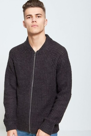 Mens Charcoal Knit Cardigan
