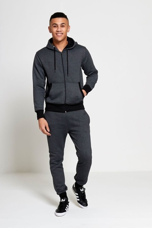 Mens Charcoal Marl Fleece Zip Through Tracksuit