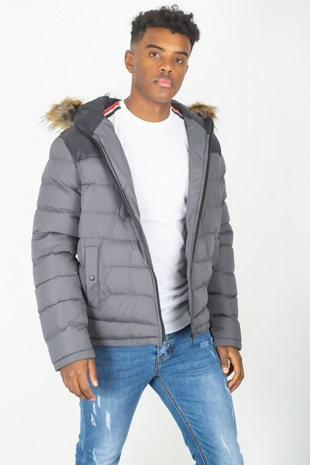Mens Charcoal Padded Coat With Black Panel