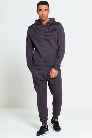 Mens Charcoal Ribbed Detail Loungewear Tracksuit