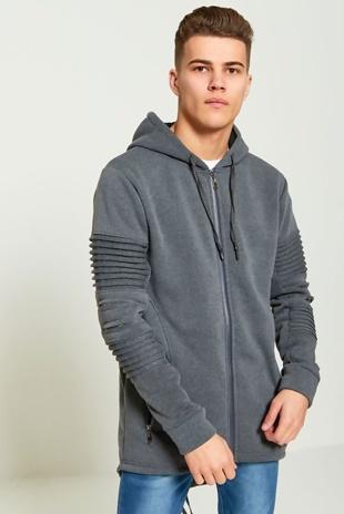 Mens Charcoal Ribbed Sleeve Long Hoodie