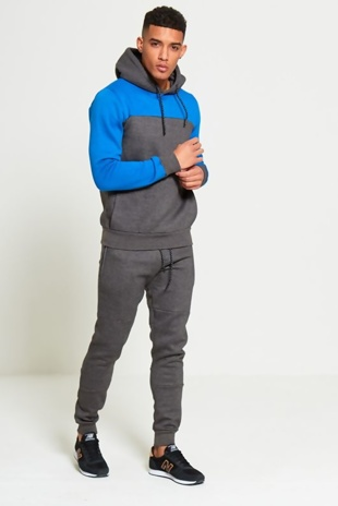 Mens Charcoal Tracksuit With Colour Block Detail