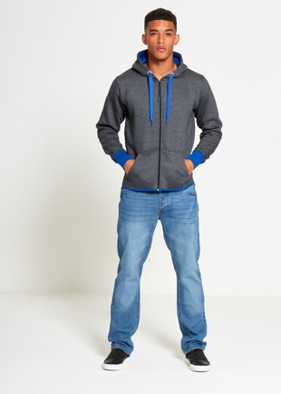 Mens Charcoal With Blue Contrast Zip Through Hoodie