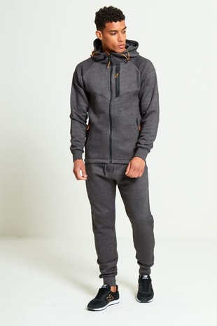 Mens Charcoal Zip Detail Hooded Tracksuit