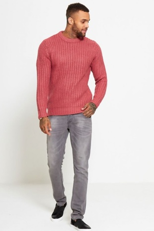 Mens Coral Ribbed Knitted Jumper