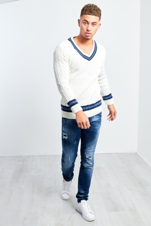 Mens Cream Cable Knitted V Neck Long Sleeve Cricket Jumper