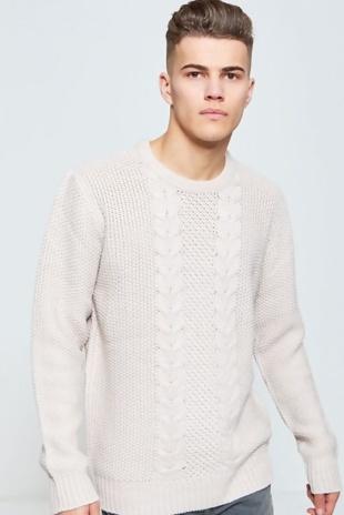 Mens Cream Knitted Jumper