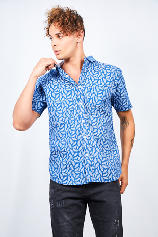 Mens Denim Feather Print Short Sleeve Cotton Shirt