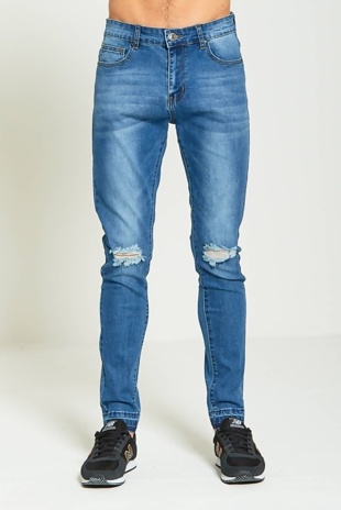 Mens Denim Knee Ripped Skinny Fit Jeans