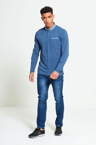 Mens Denim Long Sleeve Polo Shirt