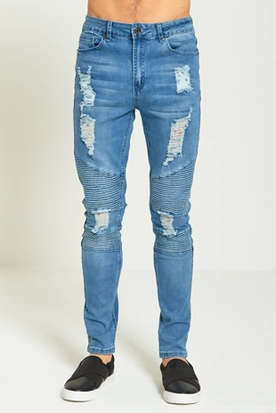 Mens Denim Ripped Biker Detail Skinny Fit Jeans