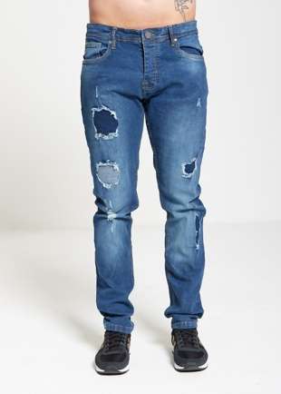 Mens Distressed Denim Frayed Jeans