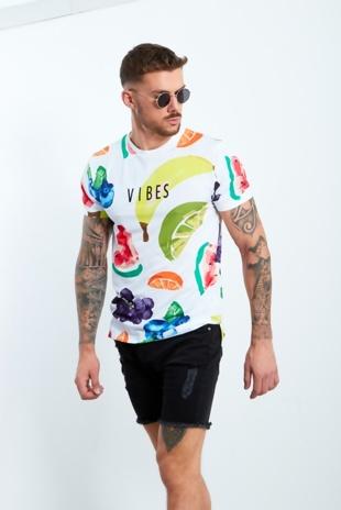 Mens Fruit Printed Vibes White T-shirt