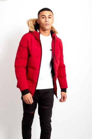 Mens Fur Hood Parka Coat
