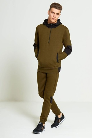 Mens Green Contrasting Colour Block Hooded Tracksuit