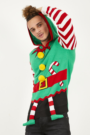 Mens Green Elf Suit Christmas Jumper
