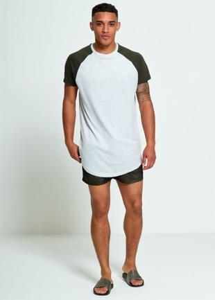 Mens Green Longline Raglan Half Sleeve T-Shirt