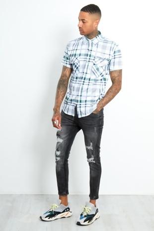 Mens Green Short Sleeve Plaid Shirt