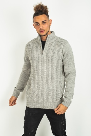 Mens Grey Cable Knit Zip Neck Jumper