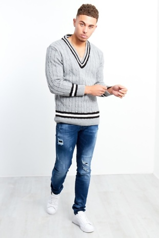 Mens Grey Cable Knitted V Neck Long Sleeve Cricket Jumper