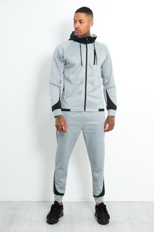 Mens Grey Contrast Zip Hood Skinny Tracksuit