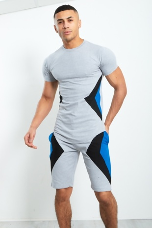Mens Grey Geo Panel Detail Shorts Set