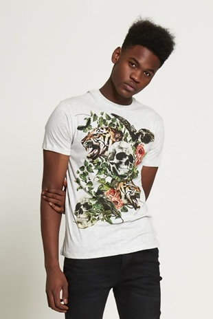 Mens Grey Graphic Print Skull T-shirt