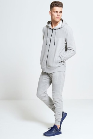 Mens Grey Hooded Ribbed Detail Tracksuit