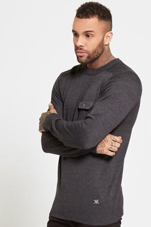Mens Grey Lightweight Knit Jumper