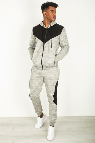 Mens Grey Marl Colour Block Tracksuit