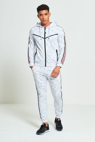 Mens Grey Marl Red Striped Side Detail Tracksuit