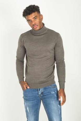 Mens Grey Polo Neck Fine Knit Jumper