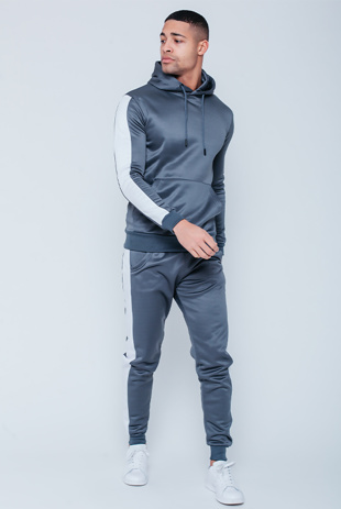 Mens Grey Pull Through Contrast Tape Hooded Tracksuit