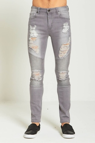 Mens Grey Ripped Biker Detail Skinny Fit Jeans