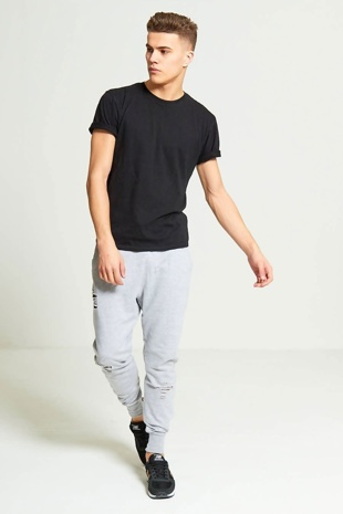 Mens Grey  Ripped Knee Jogging Bottoms