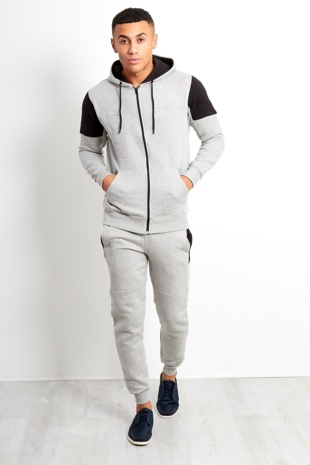 Mens Grey Shoulder Spliced Panel Tracksuit