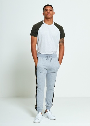 Mens Grey Skinny Fit Camo Stripe Joggers
