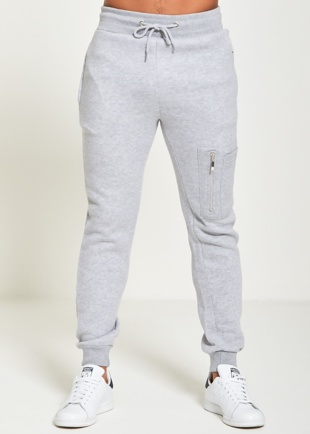 Mens Grey Skinny Fit Joggers With Zip Pockets